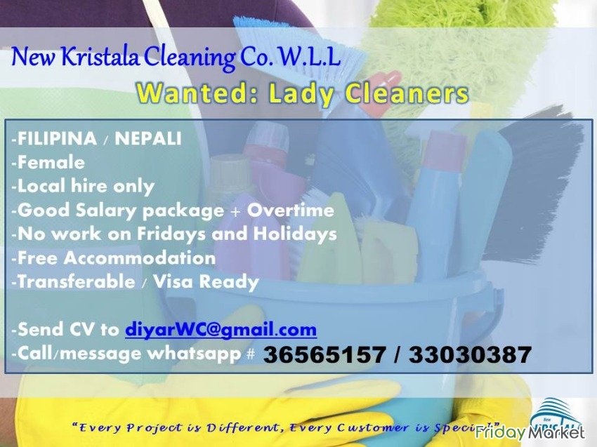 Wanted Lady Cleaners: Filipina, Nepalese, Indian (FEMALE) Manama Bahrain