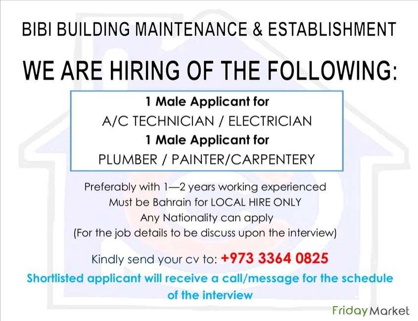 We Need Urgent Air Condition Technician Manama Bahrain